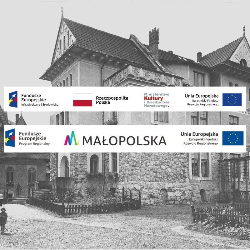 Banery Funduszy Europejskich na tle zdjęcia Gmachu Muzeum Tatrzańskiego