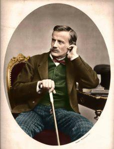 Siedzący dr Tytus Chałubiński oparty na lasce
