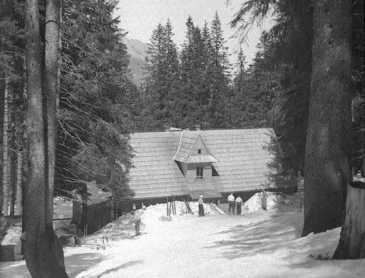 widok na schronisko na Pysznej, budynek wśród drzew