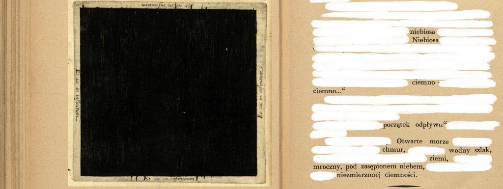 obraz ciemności oraz wygumkowany tekst jako zapowiedź performance