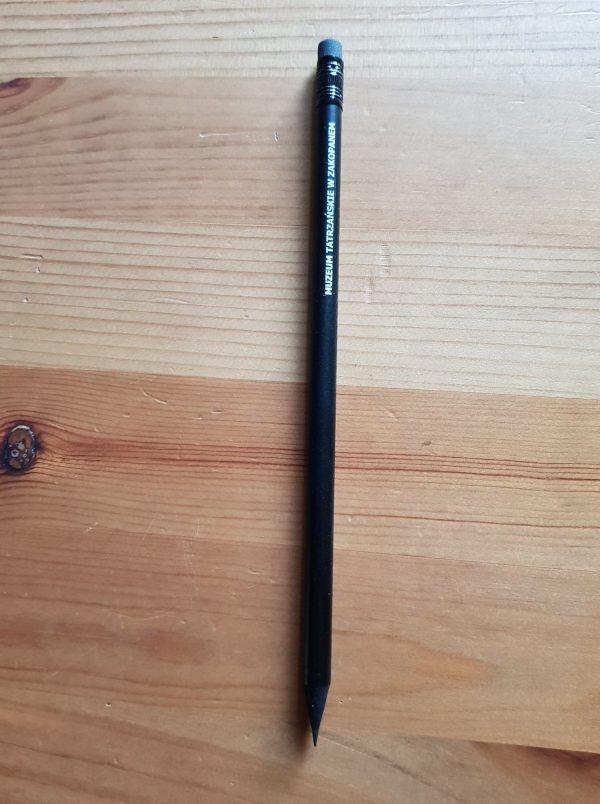 Ołówek z gumką z logo Muzeum tatrzańskiego, czarny
