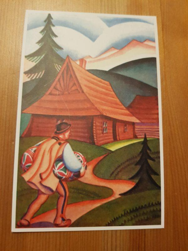Pocztówka Wielkanocna - Wesołego Alleluja, projekt Wacław Boratyński,, kolor