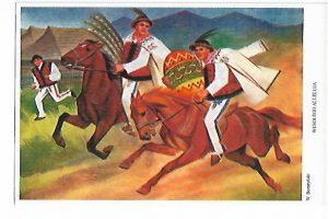 Pocztówka Górale na koniu. Wesołego alleluja W.Boratyński