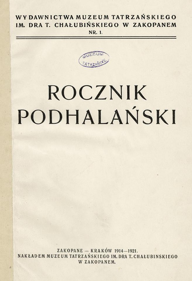 Rocznik Podhalański – czasopismo naukowe Muzeum Tatrzańskiego
