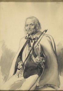 """Eljasz Walery Radzikowski (1841-1905), obraz """"Sabała"""", 21 listopada 1892, ołówek i tusz lawowany, zbiory Muzeum Tatrzańskiego"""