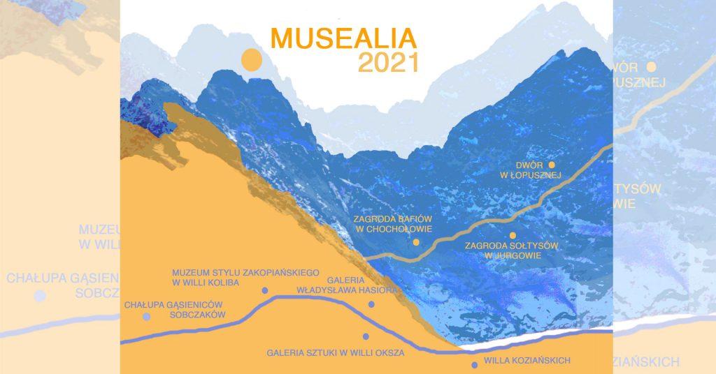 Musealia 2021 - napis na tle niebiesko-pomarańczowych Tatr i abstrakcyjnego szlaku z zaznaczonymi punktami, jako filiami Muzeum Tatrzańskiego