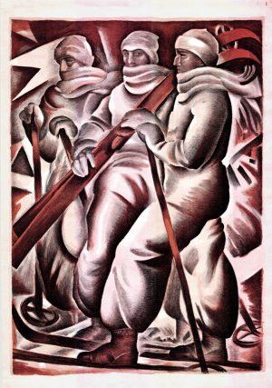 PLAKAT- Polski Związek Narciarski, IV Międzynarodowe Zawody Narciarskie 5,6,7 marzec 1926r. Zakopane trzech narciarzy