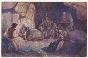 Na ilustracji widzimy kilkunastu rycerzy śpiących w tatrzańskiej jaskini, króla oraz górala. Góral wygląda na zaskoczonego i lekko przestraszonego tym, kogo zobaczył w jaskini.