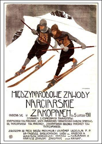 PLAKAT - Międzynarodowe Zawody Narciarskie w Zakopanem 1911r.
