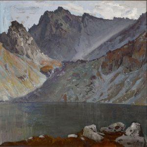 Obraz przedstawiający jezioro w górach