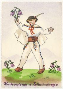 Pocztówka malowana, przedstawia górala z kwiatami w ręku, z napisem Pozdrowienia z Zakopanego