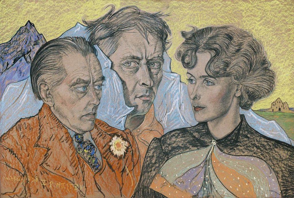 Portret namalowany przez Witkacego przedstawia 3 osoby: Tadeusza Langiera, Witkacego i Bronisławę Włodarską, w tle pejzaż górski. Portret wykonany pastelami.