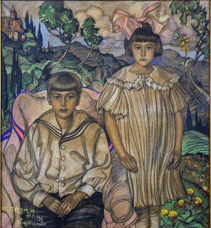 """PLAKAT WITKACY - """"Portret dwojga dzieci (Krystyny i Ludwika Fischerów) na tle pejzażowym"""""""
